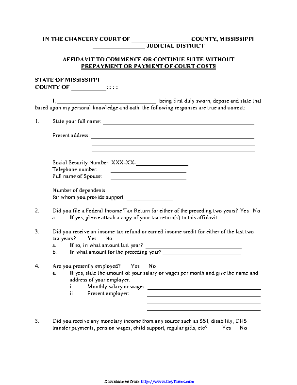 Mississippi Affidavit To Commence Or Continue Suite Without Prepayment Or Payment Of Court Costs Form