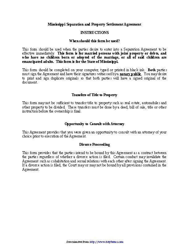 Mississippi Marital Settlement Agreement No Minor Children Form