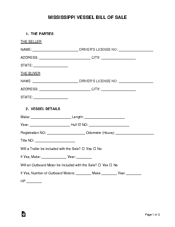 Mississippi Vessel Bill Of Sale