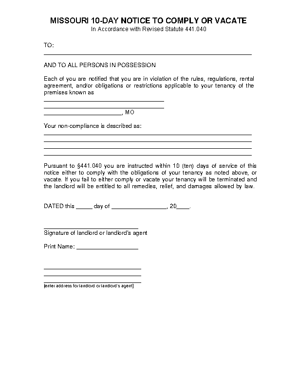 Missouri 10 Day Notice To Comply Or Vacate
