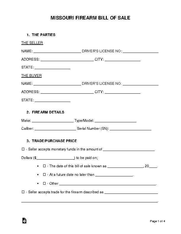 Missouri Firearm Bill Of Sale