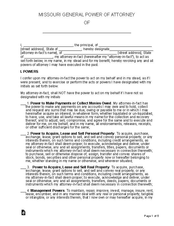 Missouri General Power Of Attorney Form