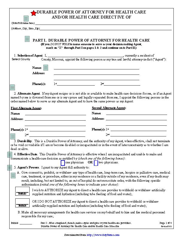 Missouri Health Care Of Attorney Form