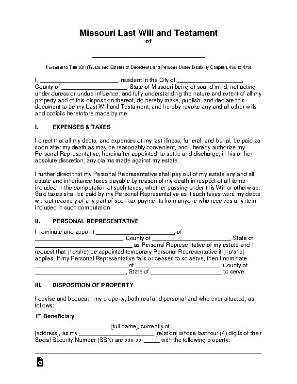 Missouri Last Will And Testament Template