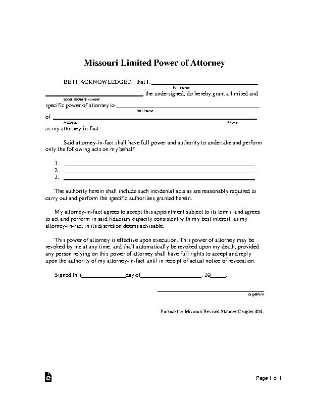 Missouri Limited Power Of Attorney