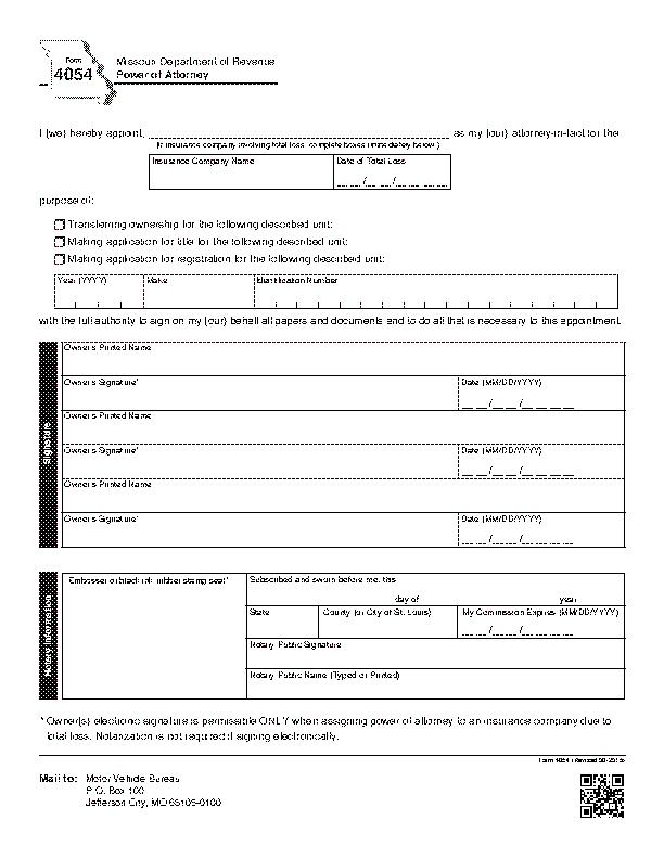 Missouri Motor Vehicle Of Attorney Form