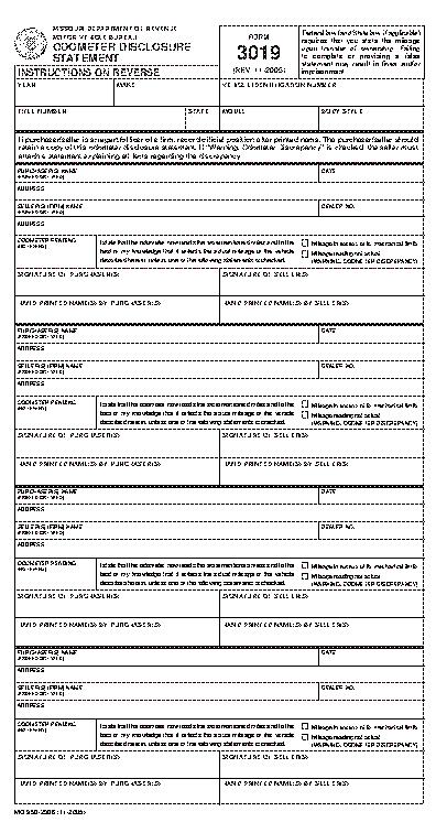Missouri Odometer Disclosure Statement Form 3019