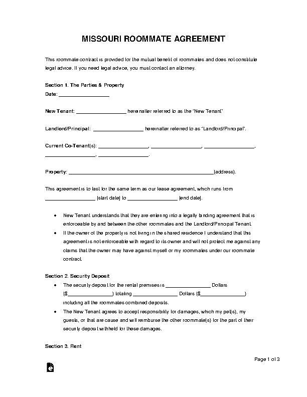 Missouri Roommate Agreement Form