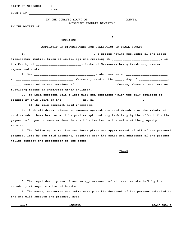 Missouri Small Estate Affidavit Form