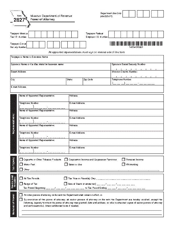 Missouri Tax Power Of Attorney Form 2827