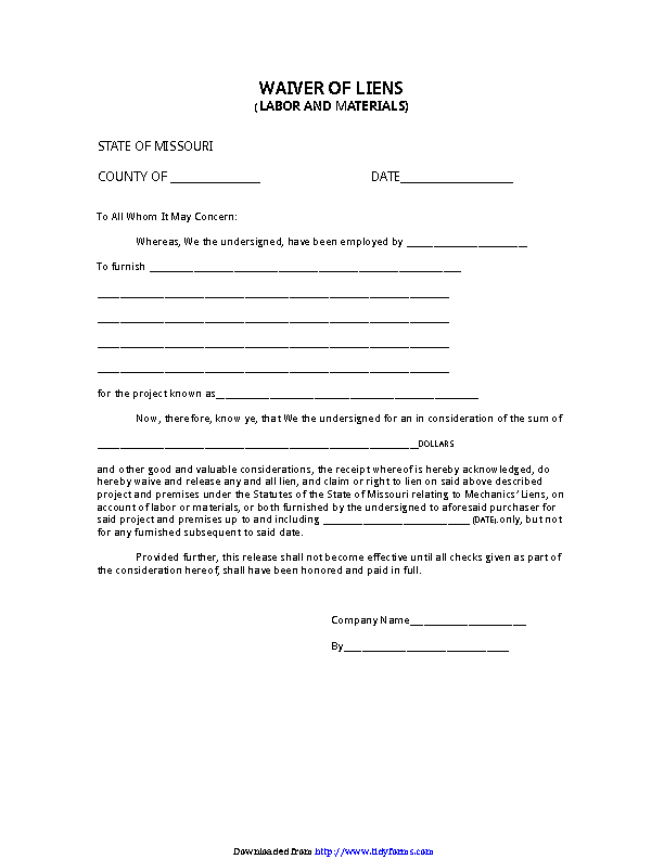 Missouri Waiver Of Liens