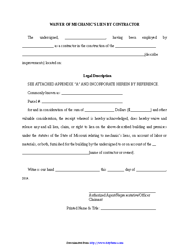 Missouri Waiver Of Mechanic Lien By Contractor