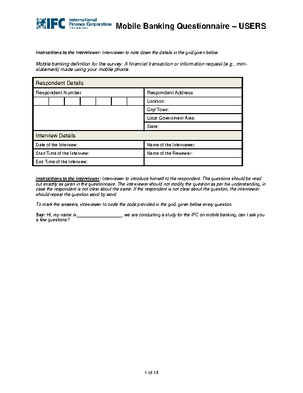 Mobile Banking Questionnaire