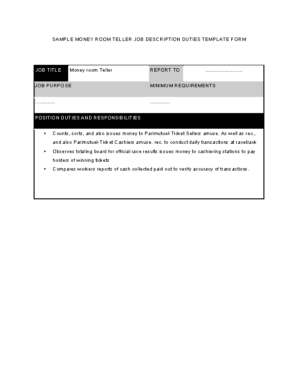 Money Room Teller Job Description