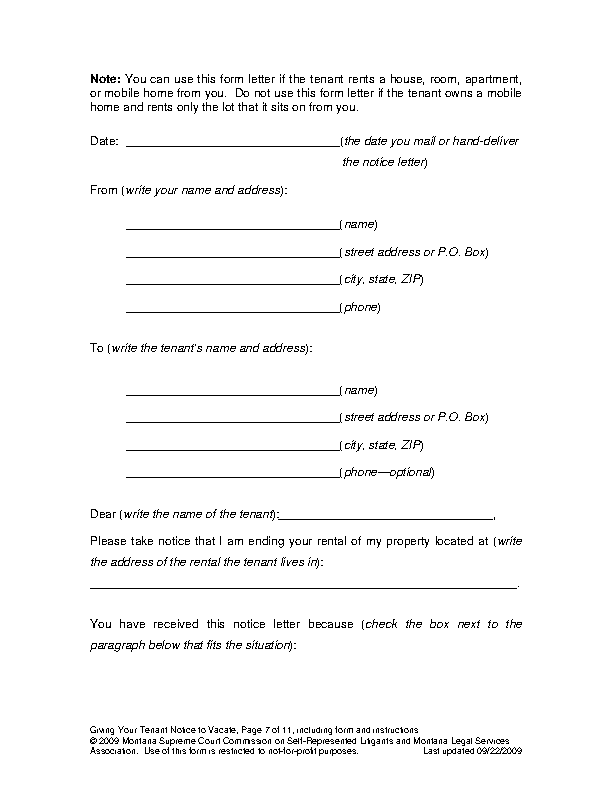 Montana Lease Termination Letter