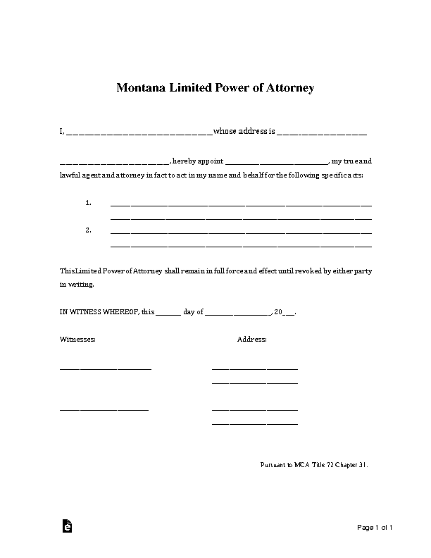 Montana Limited Power Of Attorney 1