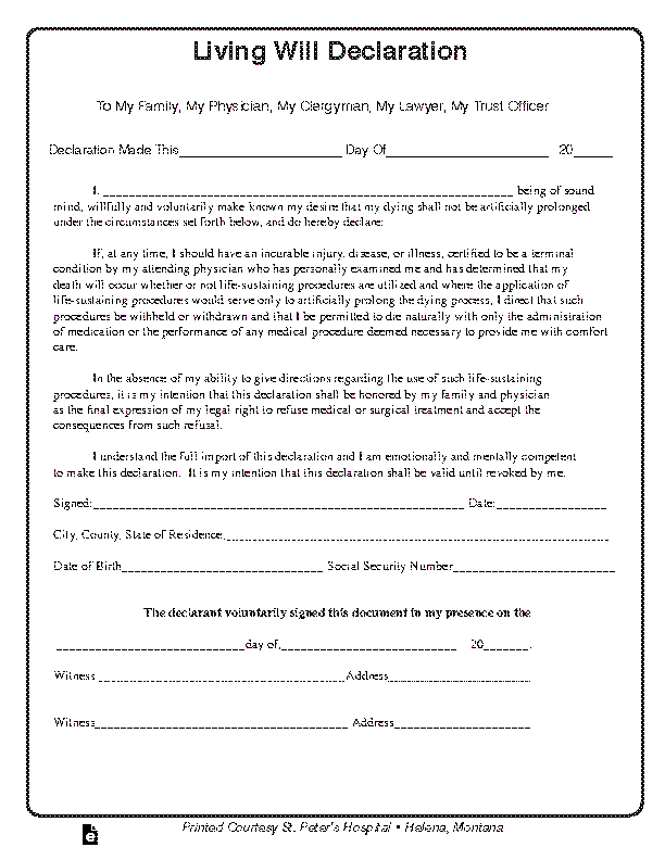 Montana Living Will Declaration Form