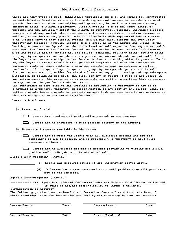 Montana Mold Dislosure Form
