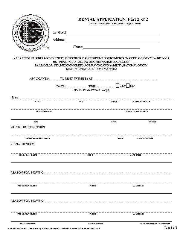 Montana Rental Application Form