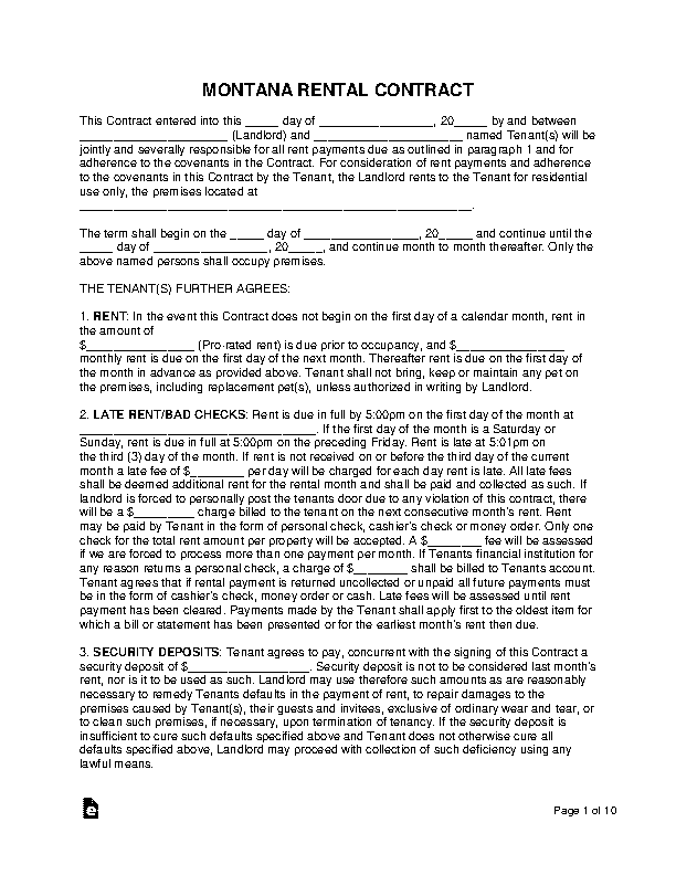 Montana Standard Residential Lease Agreement Template