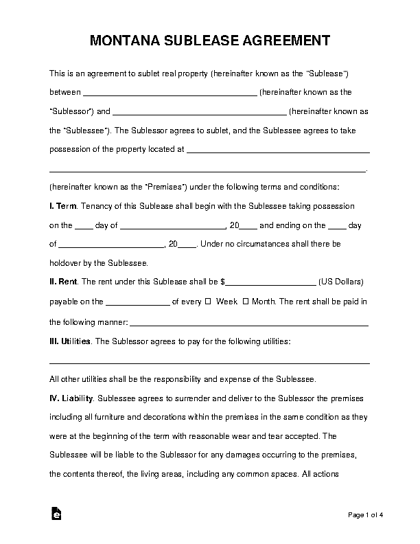 Montana Sublease Agreement Template