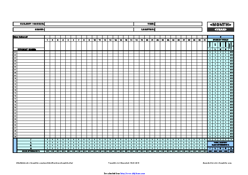 Monthly Attendance Template