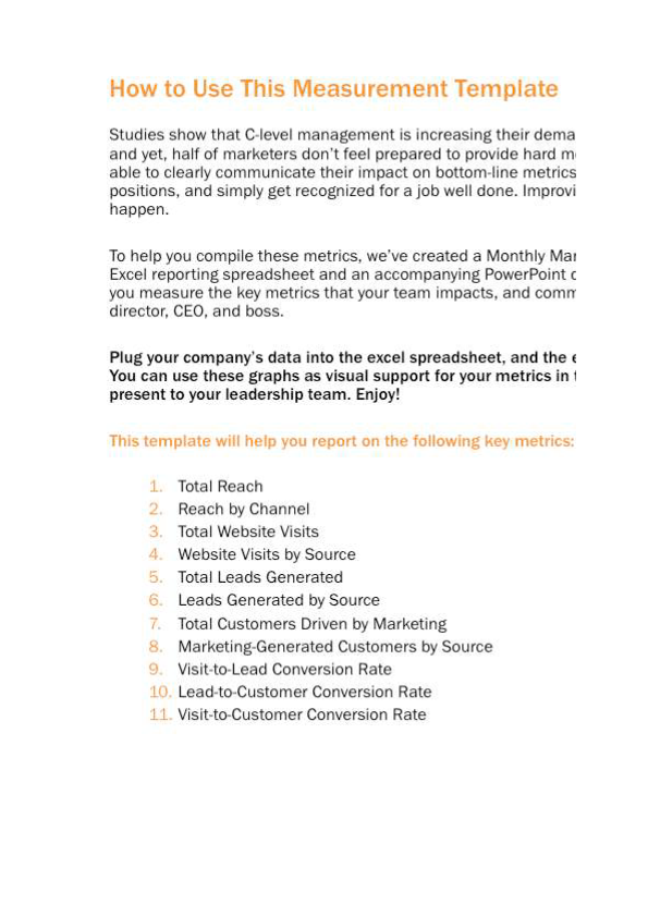 Monthly Marketing Reporting Template