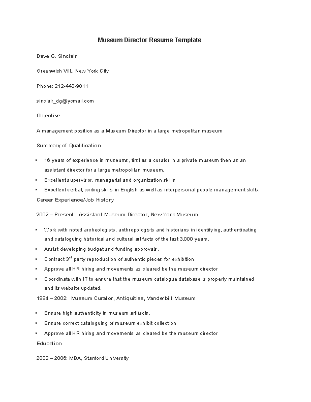 PDF Forms Museum Director Resume Template