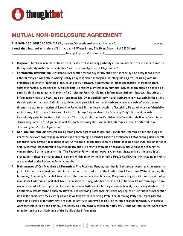 Mutual Non Disclosure Agreement Form Pdfsimpli