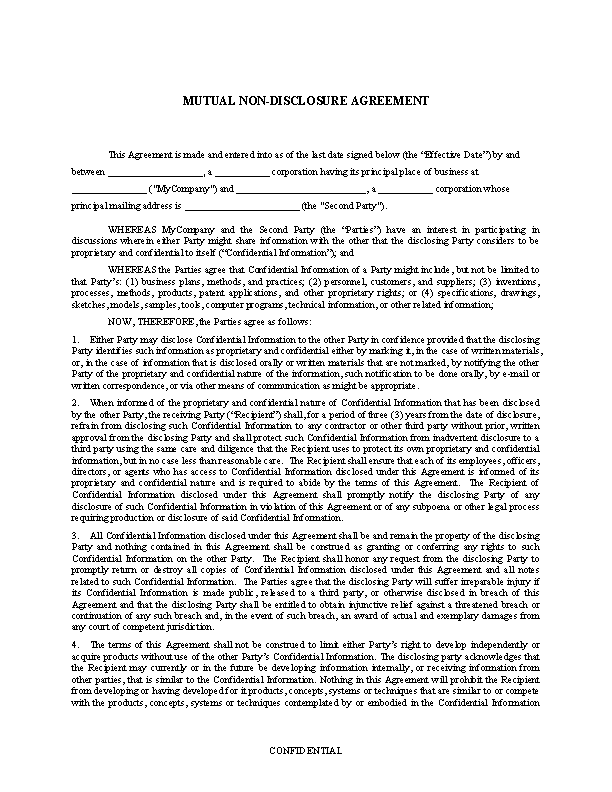 Mutual Standard Non Disclosure Agreement Template Word Doc Pdfsimpli