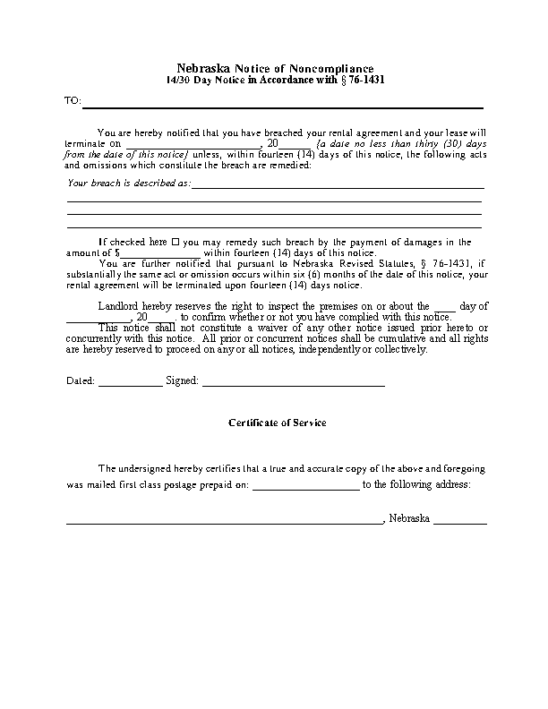 Nebraska 14 30 Day Notice To Quit Noncompliance Form