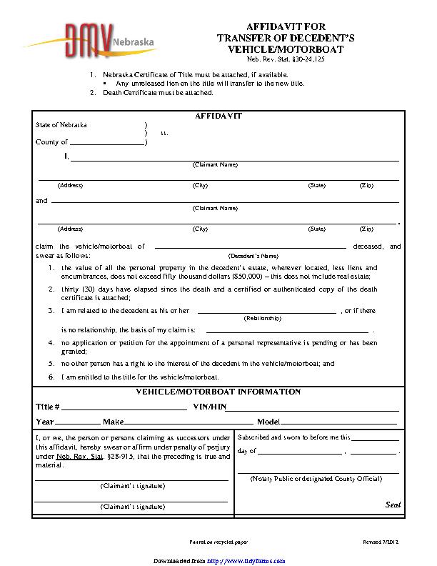 Nebraska Affidavit For Transfer Of Decedents Vehicle Motorboat Form