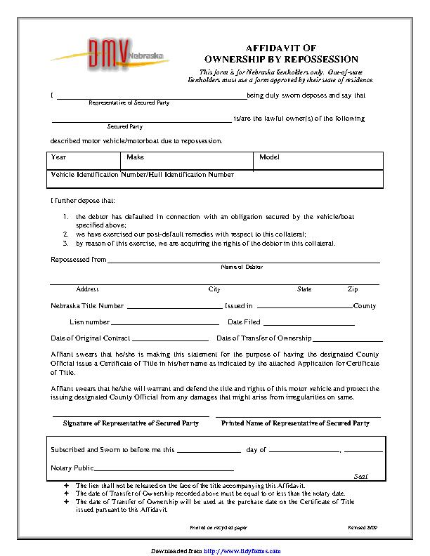 Nebraska Affidavit Of Ownership By Repossession Form