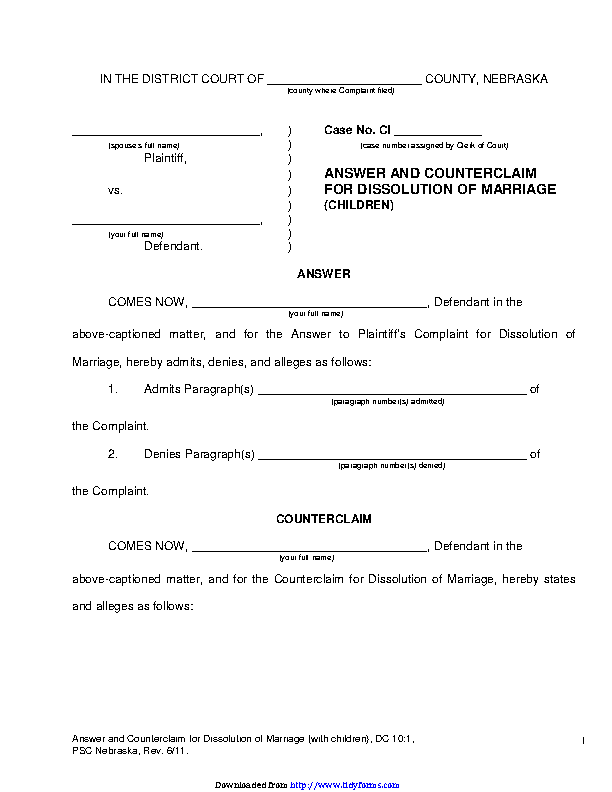 Nebraska Answer And Counterclaim For Dissolution Of Marriage Children Form