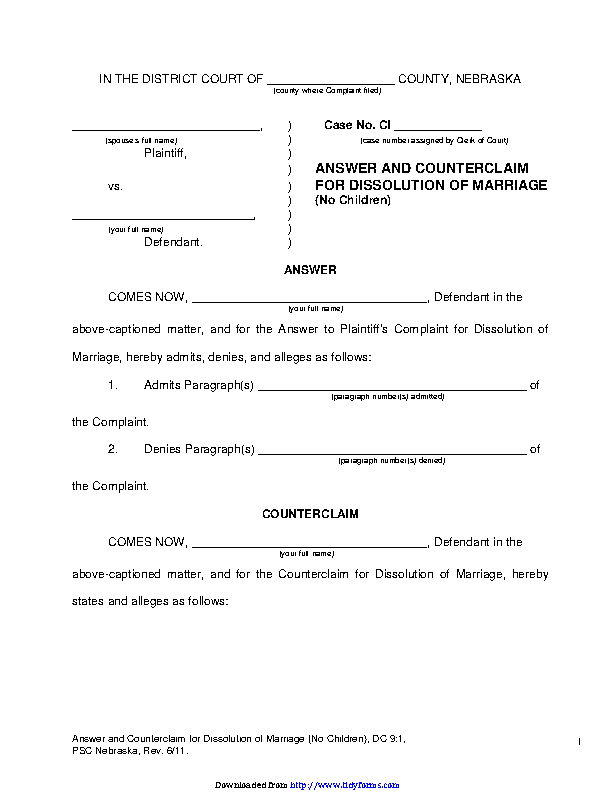Nebraska Answer And Counterclaim For Dissolution Of Marriage No Children Form