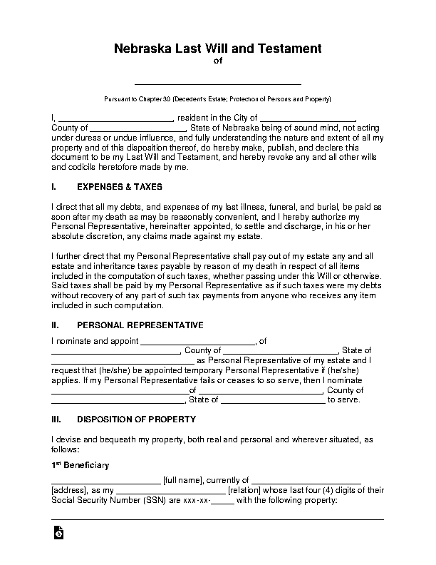 Nebraska Last Will And Testament Template