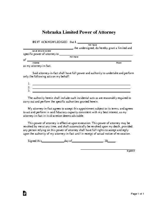 Nebraska Limited Power Of Attorney