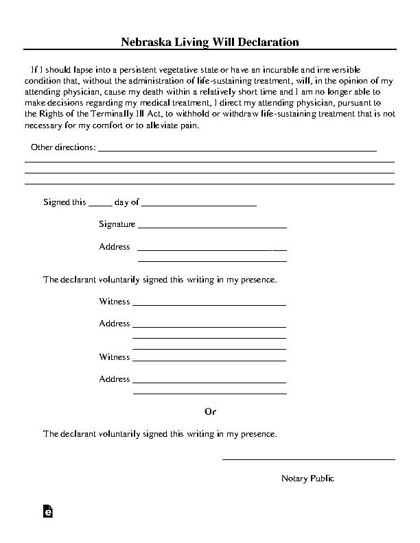 Nebraska Living Will Declaration