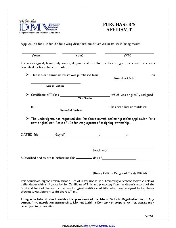 Nebraska Purchasers Affidavit Dealers Only Form