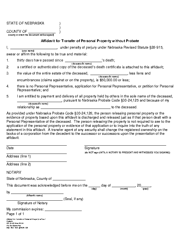 Nebraska Small Estate Affidavit Personal Property Form Cc 15 40