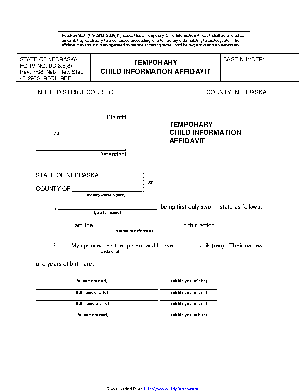Nebraska Temporary Child Information Affidavit Form