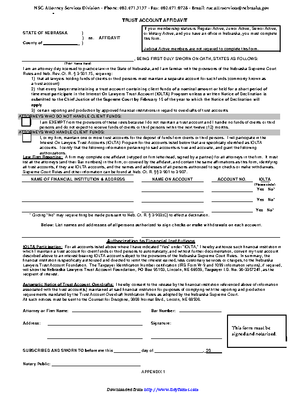 Nebraska Trust Account Affidavit Form