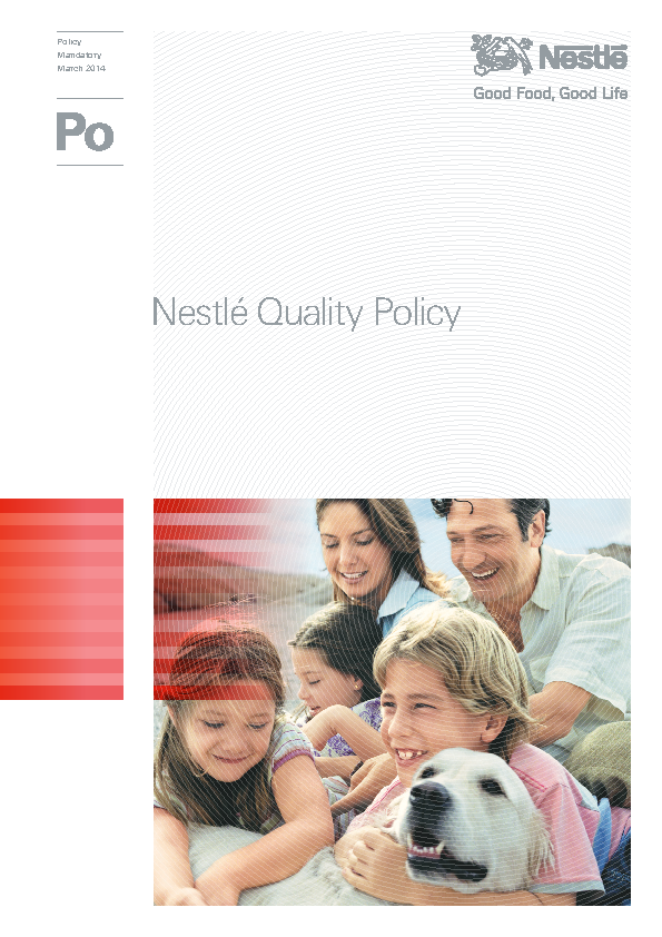 Nestle Quality Policy Template