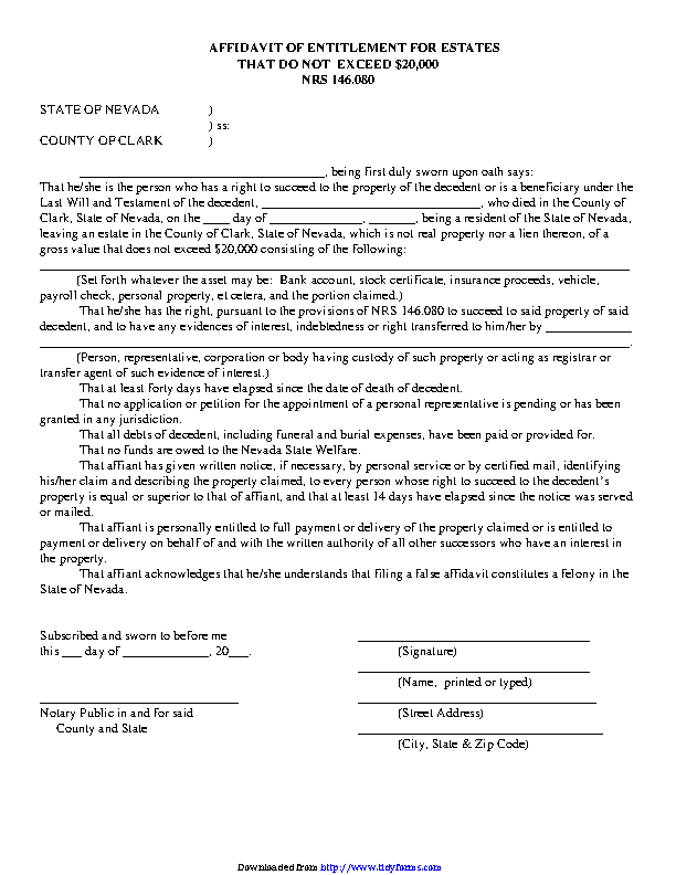Nevada Affidavit Of Entitlement For Estates That Do Not Exceed 20000 Form