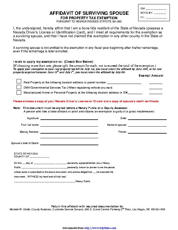 Nevada Affidavit Of Surviving Spouse For Property Tax Exemption Form