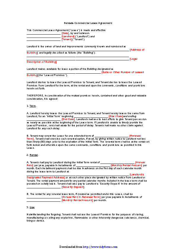 Nevada Commercial Lease Agreement Form Pdfsimpli