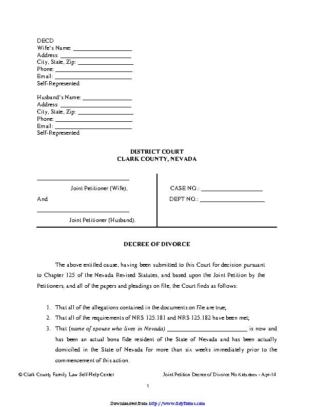 Nevada Decree Of Divorce No Children Form
