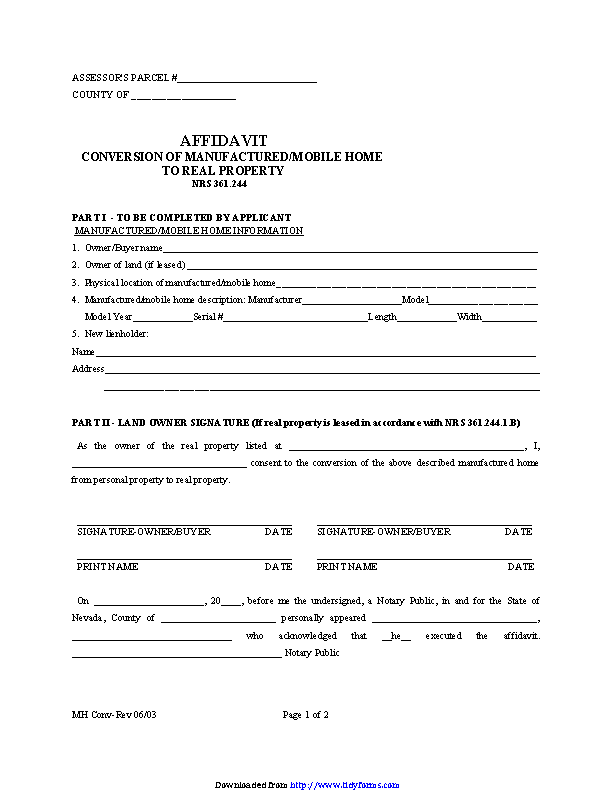 Nevada Manufactured Mobile Home Conversion Affidavit Form