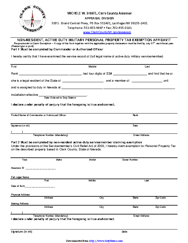 Nevada Non Resident Active Duty Military Personal Property Tax Exemption Affidavit Form