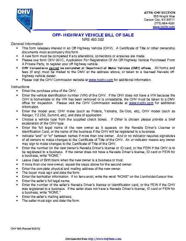 Bill Of Sale Nevada >> Nevada Off Highway Vehicle Bill Of Sale Form Pdfsimpli